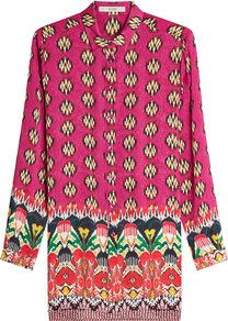 Printed Silk Blouse - neckline: shirt collar/peter pan/zip with opening; length: below the bottom; style: blouse; predominant colour: hot pink; occasions: casual, creative work; fibres: silk - 100%; fit: straight cut; sleeve length: long sleeve; sleeve style: standard; texture group: silky - light; pattern type: fabric; pattern: patterned/print; pattern size: big & busy (top); multicoloured: multicoloured; wardrobe: highlight; season: s/s 2017