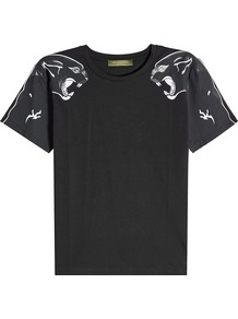 Printed Cotton T Shirt - style: t-shirt; secondary colour: white; predominant colour: black; occasions: casual; length: standard; fibres: cotton - 100%; fit: straight cut; neckline: crew; sleeve length: short sleeve; sleeve style: standard; pattern type: fabric; pattern: patterned/print; texture group: jersey - stretchy/drapey; multicoloured: multicoloured; wardrobe: highlight; season: s/s 2017