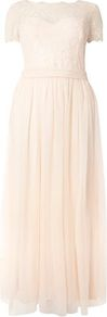 Nude Lace Overlay Maxi Dress - pattern: plain; length: ankle length; predominant colour: blush; occasions: evening; fit: fitted at waist & bust; style: fit & flare; fibres: polyester/polyamide - 100%; neckline: crew; sleeve length: short sleeve; sleeve style: standard; texture group: sheer fabrics/chiffon/organza etc.; pattern type: fabric; embellishment: lace; wardrobe: event; season: s/s 2017; embellishment location: top
