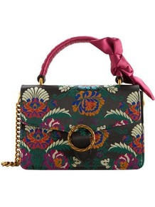 Buckle Embroidered Bag - secondary colour: emerald green; predominant colour: black; occasions: casual, creative work; type of pattern: standard; style: shoulder; length: across body/long; size: standard; material: fabric; embellishment: embroidered; pattern: florals; finish: plain; multicoloured: multicoloured; wardrobe: highlight; season: s/s 2017