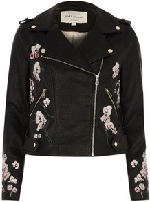 Womens Black Faux Leather Floral Biker Jacket - pattern: plain; style: biker; collar: asymmetric biker; predominant colour: black; occasions: casual; length: standard; fit: tailored/fitted; fibres: polyester/polyamide - 100%; sleeve length: long sleeve; sleeve style: standard; texture group: leather; collar break: high/illusion of break when open; pattern type: fabric; embellishment: embroidered; wardrobe: basic; season: s/s 2017; embellishment location: bust, sleeve/cuff; trends: embroidered