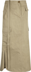 Taupe Cotton Blend Cargo Skirt Size - length: calf length; pattern: plain; style: straight; waist detail: belted waist/tie at waist/drawstring; waist: mid/regular rise; predominant colour: khaki; occasions: casual; fibres: cotton - mix; texture group: cotton feel fabrics; fit: straight cut; pattern type: fabric; wardrobe: highlight; season: s/s 2017; embellishment: flat pockets; embellishment location: hip