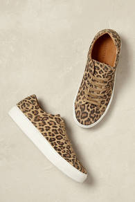 Tayla Leopard Trainers - predominant colour: camel; occasions: casual, creative work; material: fabric; heel height: flat; toe: round toe; style: trainers; finish: plain; pattern: animal print; wardrobe: highlight; season: s/s 2017