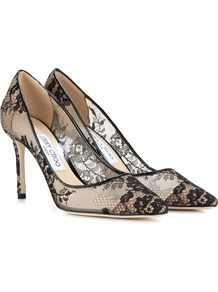 Romy 85 Lace Pumps - predominant colour: black; occasions: evening; material: lace; heel height: high; heel: stiletto; toe: pointed toe; style: courts; finish: plain; pattern: patterned/print; wardrobe: event; season: s/s 2017