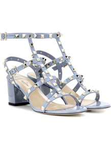 Garavani Rockstud Leather Sandals - predominant colour: pale blue; occasions: evening; material: leather; heel height: high; embellishment: studs; ankle detail: ankle strap; heel: block; toe: open toe/peeptoe; style: strappy; finish: plain; pattern: plain; wardrobe: event; season: s/s 2017