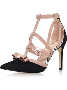High Heel Court Shoes By Miss Kg - secondary colour: nude; predominant colour: black; occasions: evening, occasion; ankle detail: ankle strap; heel: stiletto; toe: pointed toe; style: t-bar; finish: plain; pattern: colourblock; embellishment: bow; heel height: very high; material: faux suede; wardrobe: event; season: s/s 2017