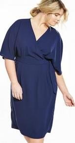 Curve Woven Wrap Kimono Sleeve Dress Navy - style: faux wrap/wrap; neckline: v-neck; sleeve style: dolman/batwing; pattern: plain; predominant colour: navy; occasions: evening, occasion; length: just above the knee; fit: body skimming; fibres: polyester/polyamide - 100%; sleeve length: half sleeve; texture group: crepes; pattern type: fabric; wardrobe: event; season: s/s 2017