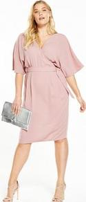 Curve Woven Wrap Kimono Sleeve Dress Blush Pink - style: faux wrap/wrap; neckline: v-neck; sleeve style: dolman/batwing; pattern: plain; waist detail: belted waist/tie at waist/drawstring; predominant colour: blush; occasions: evening, occasion; length: on the knee; fit: body skimming; fibres: polyester/polyamide - 100%; sleeve length: half sleeve; texture group: crepes; pattern type: fabric; wardrobe: event; season: s/s 2017