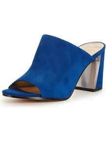Gemily Mid Heel Block Soft Mule Blue - predominant colour: royal blue; occasions: evening, creative work; material: suede; heel height: high; heel: block; toe: open toe/peeptoe; style: mules; finish: plain; pattern: plain; wardrobe: highlight; season: s/s 2017