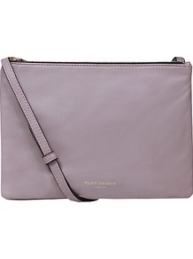 Pisces Leather Pouch Clutch Bag - predominant colour: lilac; occasions: casual, creative work; type of pattern: standard; style: clutch; length: shoulder (tucks under arm); size: small; material: leather; pattern: plain; finish: plain; wardrobe: highlight; season: s/s 2017