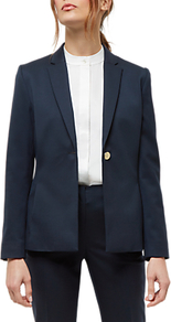 Wool Gold Button Blazer, Navy - pattern: plain; style: single breasted blazer; collar: standard lapel/rever collar; predominant colour: navy; occasions: work; length: standard; fit: tailored/fitted; fibres: wool - mix; sleeve length: long sleeve; sleeve style: standard; collar break: medium; pattern type: fabric; texture group: woven light midweight; wardrobe: investment; season: s/s 2017