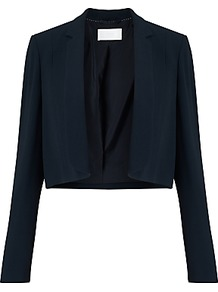 Boss Jafyna Cropped Blazer, Navy - pattern: plain; style: single breasted blazer; collar: standard lapel/rever collar; predominant colour: navy; occasions: work; fit: straight cut (boxy); sleeve length: long sleeve; sleeve style: standard; collar break: low/open; pattern type: fabric; texture group: other - light to midweight; fibres: viscose/rayon - mix; length: cropped; wardrobe: investment; season: s/s 2017