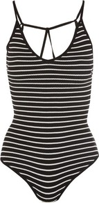 Get Free Black And White Bodysuit By Wyldr - sleeve style: spaghetti straps; pattern: striped; back detail: back revealing; secondary colour: white; predominant colour: black; occasions: casual; length: standard; neckline: scoop; fibres: polyester/polyamide - stretch; fit: tight; sleeve length: sleeveless; texture group: jersey - clingy; pattern type: fabric; style: bodysuit; wardrobe: highlight; season: s/s 2017