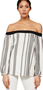 Striped Off The Shoulder Blouse, Multi - neckline: off the shoulder; pattern: striped; style: blouse; predominant colour: ivory/cream; secondary colour: black; occasions: casual, creative work; length: standard; fibres: viscose/rayon - 100%; fit: loose; sleeve length: long sleeve; sleeve style: standard; texture group: sheer fabrics/chiffon/organza etc.; pattern type: fabric; pattern size: standard; multicoloured: multicoloured; wardrobe: highlight; season: s/s 2017