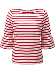 Frill Sleeve Stripe Jersey Top - neckline: round neck; pattern: horizontal stripes; sleeve style: trumpet; secondary colour: white; predominant colour: true red; occasions: casual, creative work; length: standard; style: top; fibres: cotton - 100%; fit: body skimming; sleeve length: 3/4 length; pattern type: fabric; texture group: jersey - stretchy/drapey; pattern size: big & busy (top); wardrobe: highlight; trends: statement sleeves; season: s/s 2017