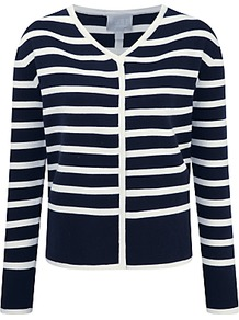 Double Faced Cotton Cashmere Jacket, Navy/White - neckline: v-neck; pattern: horizontal stripes; secondary colour: ivory/cream; predominant colour: navy; occasions: casual, creative work; length: standard; style: standard; fibres: cotton - stretch; fit: standard fit; sleeve length: long sleeve; sleeve style: standard; texture group: knits/crochet; pattern type: knitted - fine stitch; pattern size: standard; wardrobe: highlight; season: s/s 2017