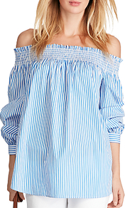 Striped Off Shoulder Top, Blue/White - neckline: off the shoulder; pattern: striped; length: below the bottom; secondary colour: white; predominant colour: pale blue; occasions: casual, creative work; style: top; fibres: cotton - stretch; fit: loose; sleeve length: 3/4 length; sleeve style: standard; texture group: cotton feel fabrics; pattern type: fabric; pattern size: light/subtle; wardrobe: highlight; season: s/s 2017