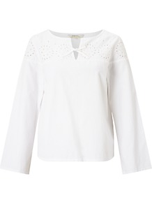 Calia Embroidered Blouse, White - neckline: v-neck; pattern: plain; style: blouse; predominant colour: ivory/cream; occasions: casual; length: standard; fibres: cotton - 100%; fit: straight cut; sleeve length: long sleeve; sleeve style: standard; texture group: cotton feel fabrics; pattern type: fabric; embellishment: embroidered; wardrobe: highlight; season: s/s 2017; embellishment location: shoulder