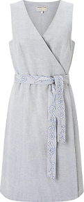 Lena Wrap Dress, Grey - style: faux wrap/wrap; neckline: low v-neck; fit: fitted at waist; sleeve style: sleeveless; waist detail: belted waist/tie at waist/drawstring; secondary colour: white; predominant colour: light grey; length: just above the knee; fibres: cotton - 100%; occasions: occasion; sleeve length: sleeveless; texture group: cotton feel fabrics; pattern type: fabric; pattern size: light/subtle; embellishment: embroidered; pattern: marl; wardrobe: event; season: s/s 2017; embellishment location: waist
