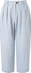 Loose Fit Trousers, Blue - pattern: plain; waist: mid/regular rise; predominant colour: pale blue; occasions: casual; length: ankle length; fibres: cotton - 100%; texture group: cotton feel fabrics; fit: baggy; pattern type: fabric; style: standard; wardrobe: highlight; season: s/s 2017