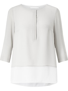 Boss Baliana Layered Blouse, Silver - style: shirt; secondary colour: white; predominant colour: light grey; occasions: casual, creative work; length: standard; fibres: polyester/polyamide - 100%; fit: straight cut; neckline: crew; sleeve length: 3/4 length; sleeve style: standard; pattern type: fabric; pattern: colourblock; texture group: other - light to midweight; multicoloured: multicoloured; wardrobe: highlight; season: s/s 2017