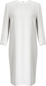 Boss Dikalea Dress, Silver - style: shift; pattern: plain; predominant colour: light grey; length: just above the knee; fit: straight cut; fibres: viscose/rayon - 100%; neckline: crew; sleeve length: 3/4 length; sleeve style: standard; texture group: crepes; pattern type: fabric; occasions: creative work; wardrobe: investment; season: s/s 2017