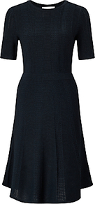 Boss Frizana Knitted Dress, Navy - pattern: plain; predominant colour: navy; length: on the knee; fit: fitted at waist & bust; style: fit & flare; neckline: crew; sleeve length: short sleeve; sleeve style: standard; texture group: knits/crochet; pattern type: knitted - fine stitch; fibres: viscose/rayon - mix; occasions: creative work; wardrobe: investment; season: s/s 2017