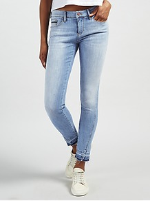 Mid Rise Skinny Twisted Ankle Jeans, Unusual Blue - style: skinny leg; pattern: plain; pocket detail: traditional 5 pocket; waist: mid/regular rise; predominant colour: denim; occasions: casual; length: ankle length; fibres: cotton - stretch; jeans detail: shading down centre of thigh, washed/faded; texture group: denim; pattern type: fabric; wardrobe: basic; season: s/s 2017