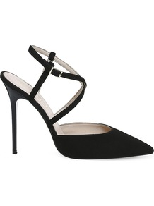 Here We Go Strappy Suede Courts, Women's, Black Suede - predominant colour: black; occasions: evening, occasion; material: suede; ankle detail: ankle strap; heel: stiletto; toe: pointed toe; style: courts; finish: plain; pattern: plain; heel height: very high; wardrobe: event; season: s/s 2017