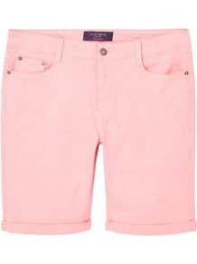 Cotton Bermuda Shorts - pattern: plain; waist: mid/regular rise; predominant colour: blush; occasions: casual, holiday; fibres: cotton - stretch; texture group: denim; pattern type: fabric; style: denim; length: mid thigh shorts; fit: slim leg; wardrobe: holiday; season: s/s 2017