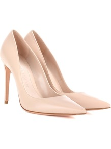 Leather Pump - predominant colour: nude; occasions: evening; material: leather; heel height: high; heel: stiletto; toe: pointed toe; style: courts; finish: plain; pattern: plain; wardrobe: event; season: s/s 2017