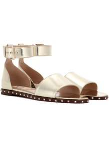 Garavani Soul Rockstud Leather Sandals - predominant colour: gold; occasions: casual, holiday; material: leather; heel height: flat; ankle detail: ankle strap; heel: standard; toe: open toe/peeptoe; style: standard; finish: metallic; pattern: plain; wardrobe: basic; season: s/s 2017