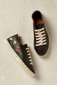 Isola Floral Espadrille Trainers - predominant colour: black; occasions: casual, creative work; material: fabric; heel height: flat; toe: round toe; finish: plain; pattern: florals; style: espadrilles; multicoloured: multicoloured; wardrobe: highlight; season: s/s 2017