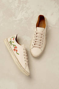 Isola Floral Espadrille Trainers - predominant colour: ivory/cream; occasions: casual, creative work; material: fabric; heel height: flat; toe: round toe; finish: plain; pattern: florals; style: espadrilles; multicoloured: multicoloured; wardrobe: highlight; season: s/s 2017