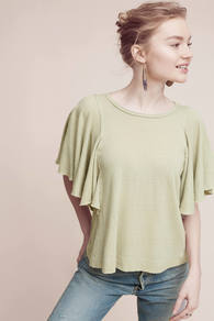 Lana Fluttered Top - neckline: round neck; sleeve style: angel/waterfall; pattern: plain; predominant colour: lime; occasions: casual, creative work; length: standard; style: top; fibres: cotton - 100%; fit: loose; sleeve length: short sleeve; pattern type: fabric; texture group: jersey - stretchy/drapey; wardrobe: highlight; season: s/s 2017