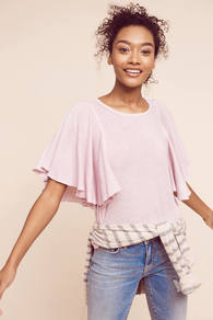 Lana Fluttered Top - neckline: round neck; sleeve style: angel/waterfall; pattern: plain; predominant colour: blush; occasions: casual; length: standard; style: top; fibres: cotton - 100%; fit: body skimming; sleeve length: short sleeve; pattern type: fabric; pattern size: standard; texture group: jersey - stretchy/drapey; wardrobe: basic; season: s/s 2017