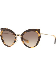 Mu 05 Ss Cat's Eye Sunglasses - predominant colour: chocolate brown; secondary colour: camel; occasions: casual, holiday; style: novelty; size: small; material: plastic/rubber; pattern: tortoiseshell; finish: plain; wardrobe: basic; season: s/s 2017