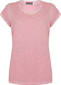 Woven Sleeve T Shirt - neckline: round neck; pattern: plain; style: t-shirt; predominant colour: pink; occasions: casual; length: standard; fibres: viscose/rayon - 100%; fit: body skimming; sleeve length: short sleeve; sleeve style: standard; pattern type: fabric; texture group: jersey - stretchy/drapey; wardrobe: highlight; season: s/s 2017