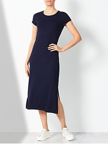 Jersey Short Sleeve Column Dress - style: shift; length: calf length; neckline: round neck; pattern: plain; predominant colour: navy; occasions: casual, creative work; fit: body skimming; fibres: viscose/rayon - stretch; sleeve length: short sleeve; sleeve style: standard; pattern type: fabric; texture group: jersey - stretchy/drapey; wardrobe: basic; season: s/s 2017