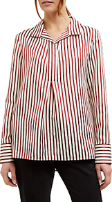 Stripe Shirt, Red/Neutral - neckline: shirt collar/peter pan/zip with opening; pattern: vertical stripes; style: shirt; secondary colour: white; predominant colour: true red; occasions: casual, creative work; length: standard; fibres: polyester/polyamide - mix; fit: straight cut; sleeve length: long sleeve; sleeve style: standard; pattern type: fabric; texture group: other - light to midweight; multicoloured: multicoloured; wardrobe: highlight; season: s/s 2017