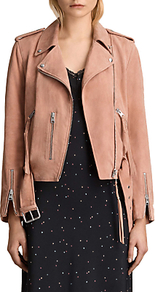 Plait Balfern Suede Biker Jacket, Clay Pink - pattern: plain; style: biker; shoulder detail: obvious epaulette; collar: asymmetric biker; predominant colour: camel; occasions: casual, creative work; length: standard; fit: straight cut (boxy); fibres: leather - 100%; sleeve length: long sleeve; sleeve style: standard; collar break: medium; pattern type: fabric; texture group: suede; wardrobe: basic; season: s/s 2017