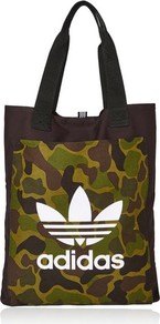 Black Canvas Shopper Bag By Adidas - predominant colour: khaki; secondary colour: black; occasions: casual; type of pattern: standard; style: tote; length: shoulder (tucks under arm); size: standard; material: fabric; finish: plain; pattern: camouflage; multicoloured: multicoloured; wardrobe: highlight; season: s/s 2017