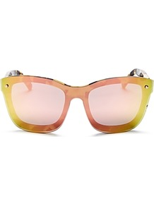 Mirrored Square Sunglasses, 152mm - secondary colour: pink; predominant colour: yellow; style: square; size: standard; material: plastic/rubber; pattern: plain; occasions: holiday; finish: plain; multicoloured: multicoloured; wardrobe: highlight; season: s/s 2017