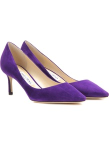 Romy 60 Suede Pumps - predominant colour: purple; occasions: evening; material: suede; heel height: mid; heel: stiletto; toe: pointed toe; style: courts; finish: plain; pattern: plain; wardrobe: event; season: s/s 2017