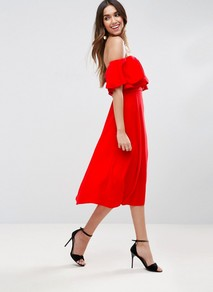 Soft Off Shoulder Bardot Prom Midi Dress Fiesta Red - length: below the knee; neckline: off the shoulder; sleeve style: angel/waterfall; pattern: plain; style: prom dress; predominant colour: true red; occasions: evening, occasion; fit: fitted at waist & bust; fibres: polyester/polyamide - 100%; sleeve length: short sleeve; texture group: crepes; bust detail: bulky details at bust; pattern type: fabric; wardrobe: event; season: s/s 2017; embellishment: frills; embellishment location: bust