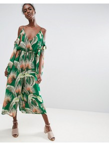 Jumpsuit With Knot And Split Sleeve Detail In Tropical Print Multi - neckline: plunge; sleeve style: open slash; fit: fitted at waist; predominant colour: emerald green; secondary colour: stone; occasions: evening; length: calf length; fibres: polyester/polyamide - 100%; sleeve length: half sleeve; texture group: sheer fabrics/chiffon/organza etc.; style: jumpsuit; pattern type: fabric; pattern: patterned/print; multicoloured: multicoloured; wardrobe: event; season: s/s 2017