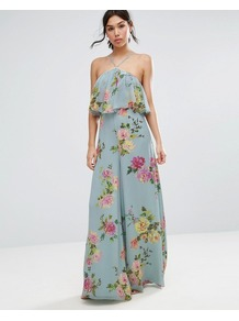 Jumpsuit In Crinkle With Wide Leg And Halter Neck In Floral Print Grey Floral Print - length: standard; fit: fitted at waist; sleeve style: sleeveless; neckline: low halter neck; back detail: back revealing; secondary colour: hot pink; predominant colour: denim; occasions: evening; fibres: polyester/polyamide - 100%; sleeve length: sleeveless; style: jumpsuit; pattern type: fabric; pattern: florals; texture group: other - light to midweight; multicoloured: multicoloured; wardrobe: event; season: s/s 2017