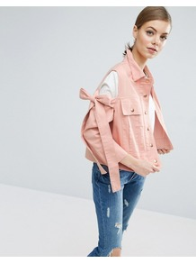 Jacket With Bow Cold Shoulder Pink - pattern: plain; style: denim; predominant colour: pink; occasions: casual; length: standard; fit: straight cut (boxy); fibres: cotton - 100%; collar: shirt collar/peter pan/zip with opening; sleeve length: long sleeve; sleeve style: standard; texture group: denim; collar break: high; pattern type: fabric; embellishment: bow; wardrobe: highlight; season: s/s 2017; embellishment location: shoulder