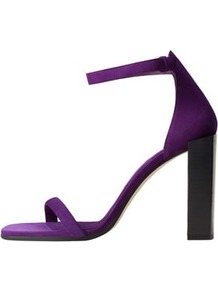 Ankle Cuff Leather Sandals - predominant colour: purple; occasions: evening, occasion; material: suede; ankle detail: ankle strap; heel: block; toe: open toe/peeptoe; style: standard; finish: plain; pattern: plain; heel height: very high; wardrobe: event; season: s/s 2017