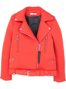 Belted Biker Jacket - pattern: plain; style: biker; collar: asymmetric biker; predominant colour: true red; occasions: casual, creative work; length: standard; fit: straight cut (boxy); fibres: polyester/polyamide - stretch; waist detail: belted waist/tie at waist/drawstring; sleeve length: long sleeve; sleeve style: standard; texture group: technical outdoor fabrics; collar break: high/illusion of break when open; pattern type: fabric; wardrobe: highlight; season: s/s 2017